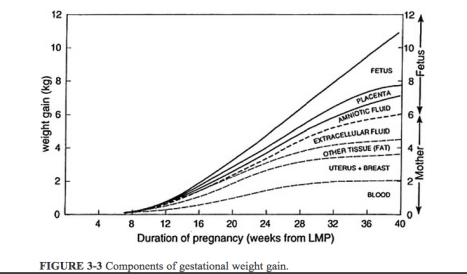 Components of Pregnancy Weight Gain By Week